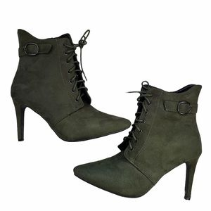 Rouge Helium Olive 🫒 Green Pointed booties size 8